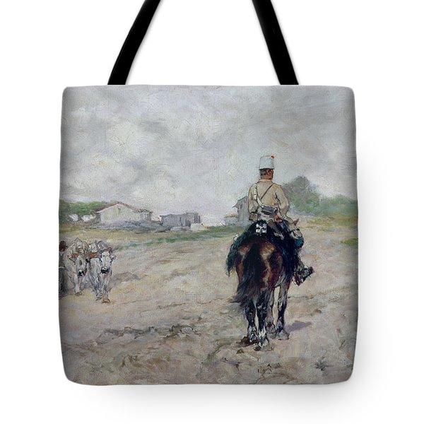 The Light Cavalryman Tote Bag by Giovanni Fattori