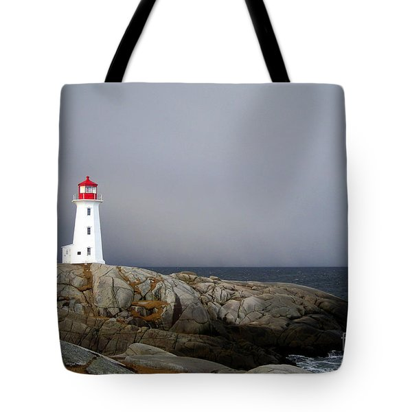 The Lighthouse At Peggys Cove Nova Scotia Tote Bag by Shawna Mac