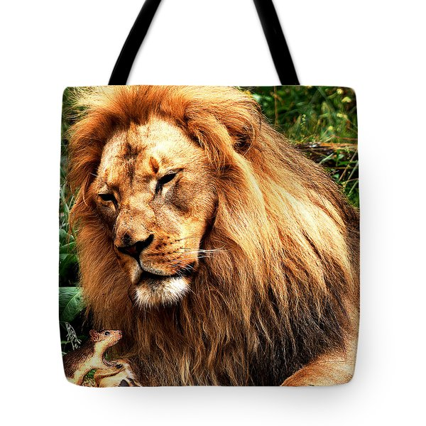 The Lion And The Mouse Tote Bag by Wingsdomain Art and Photography