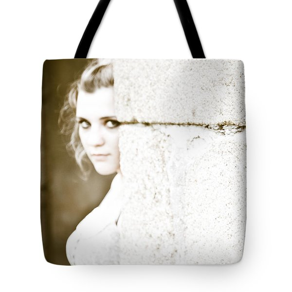The Look Behind The Pillar Tote Bag by Loriental Photography