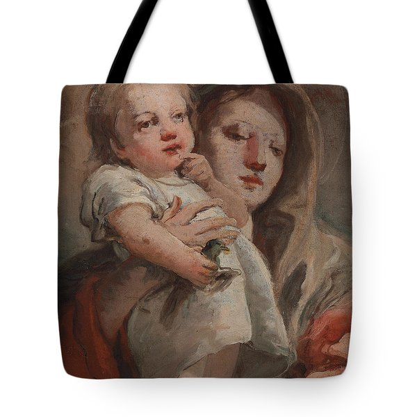 The Madonna And Child With A Goldfinch Tote Bag by Tiepolo
