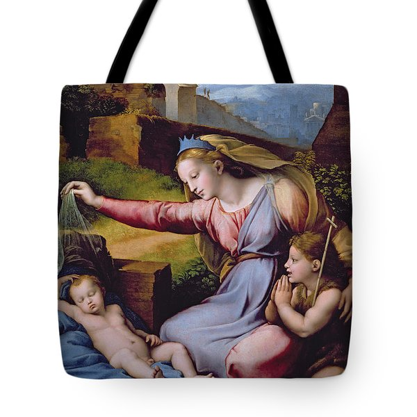 The Madonna Of The Veil Tote Bag by Raphael