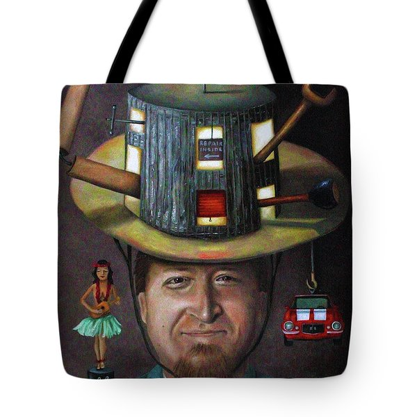 The Mechanic part of the Thinking Cap series Tote Bag by Leah Saulnier The Painting Maniac