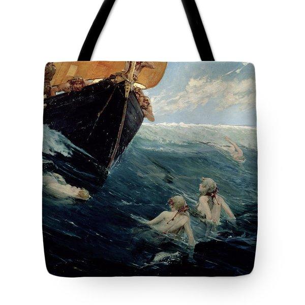 The Mermaid's Rock Tote Bag by Edward Matthew Hale
