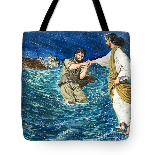 The Miracles Of Jesus Walking On Water  Tote Bag by Clive Uptton