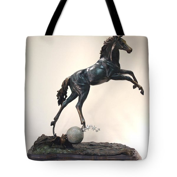 The Moonhorse Bronze Tote Bag by Dawn Senior-Trask