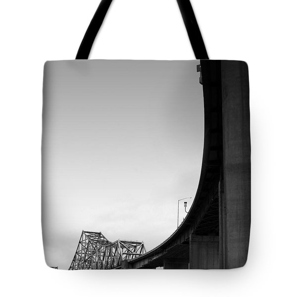 The Old Carquinez Bridge . Black and White . 7D8832 Tote Bag by Wingsdomain Art and Photography