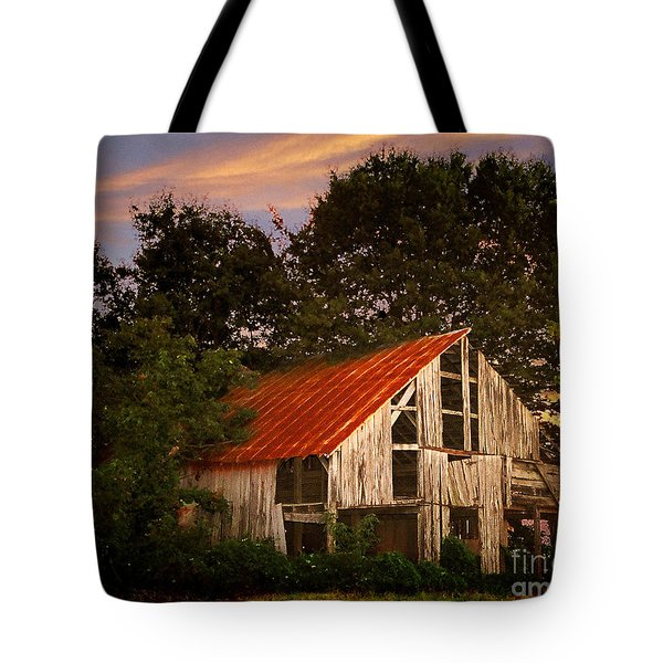 The Old Lowdermilk Barn - Red Roof Barn Rustic Country Rural Antique Tote Bag by Jon Holiday