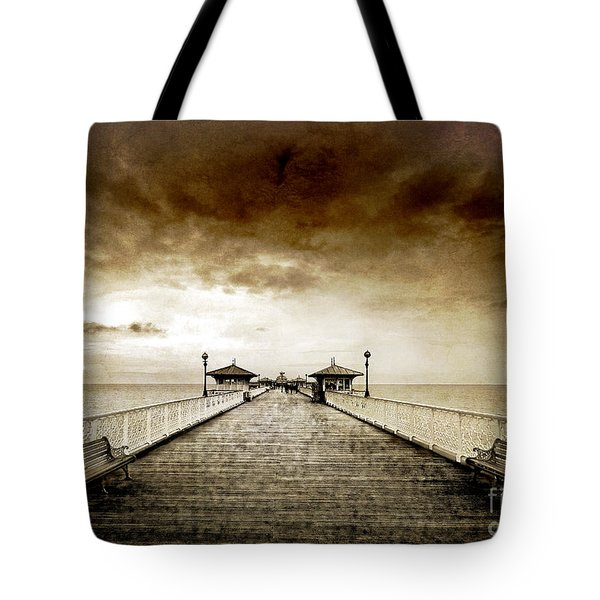 the pier at Llandudno Tote Bag by Meirion Matthias