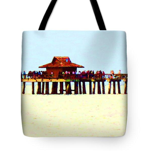 The Pier - Beach Pier Art Tote Bag by Sharon Cummings