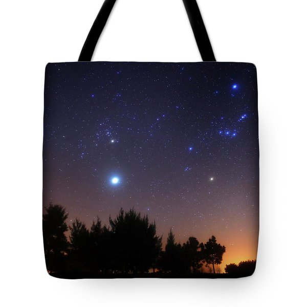 The Pleiades, Taurus And Orion Tote Bag by Luis Argerich