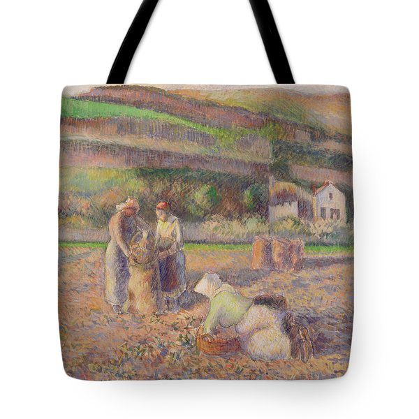The Potato Harvest Tote Bag by Camille Pissarro