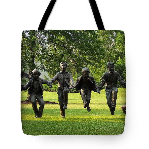 The Puddle Jumpers At Byers Choice Tote Bag by Trish Tritz