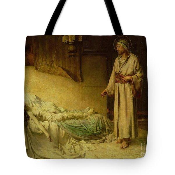The Raising Of Jairus's Daughter Tote Bag by George Percy Jacomb-Hood