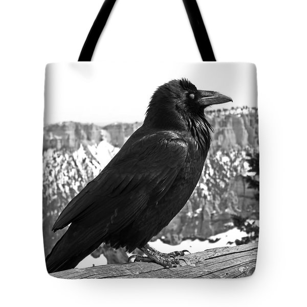The Raven - Black And White Tote Bag by Rona Black