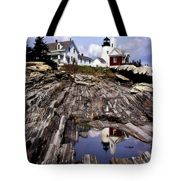 The Reflection At Pemaquid Tote Bag by Skip Willits