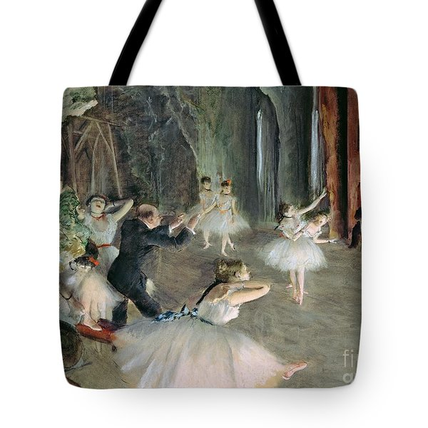The Rehearsal Of The Ballet On Stage Tote Bag by Edgar Degas