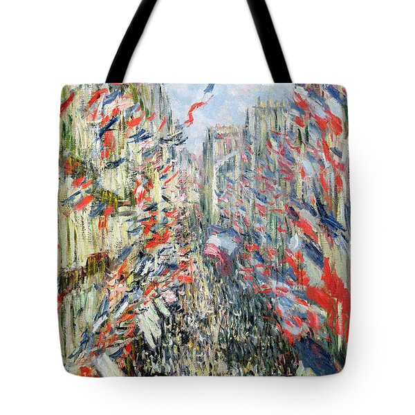 The Rue Montorgueil Tote Bag by Claude Monet