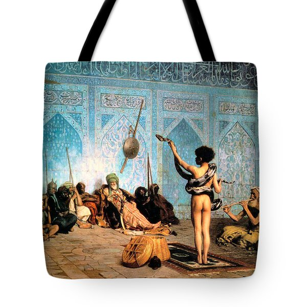 The Serpent Charmer Tote Bag by Jean Leon Gerome