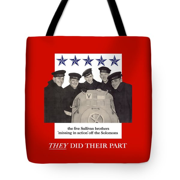 The Sullivan Brothers Tote Bag by War Is Hell Store