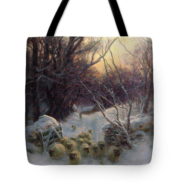 The Sun Had Closed The Winter Day Tote Bag by Joseph Farquharson