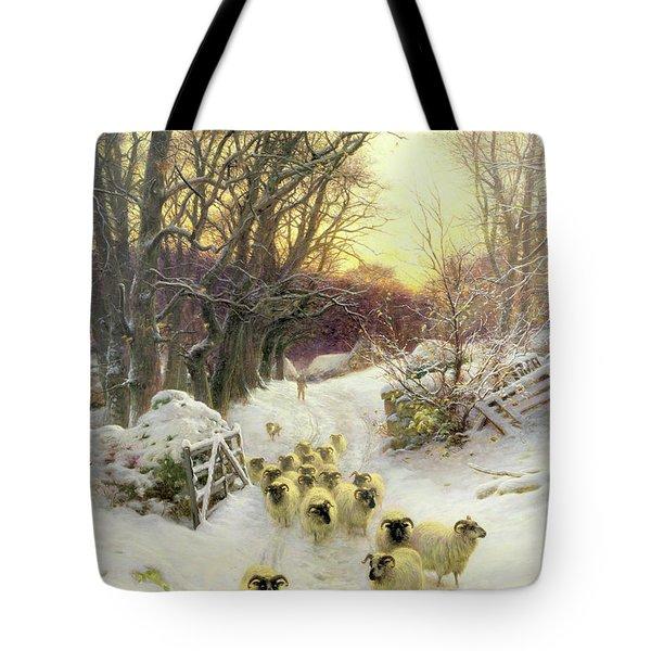 The Sun Had Closed The Winter's Day  Tote Bag by Joseph Farquharson