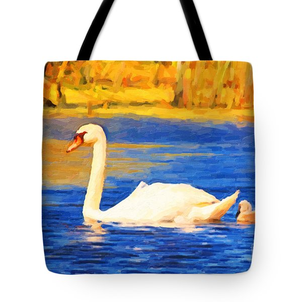 The Swan Family . Photoart Tote Bag by Wingsdomain Art and Photography