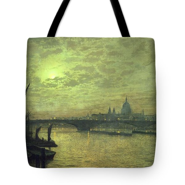 The Thames By Moonlight With Southwark Bridge Tote Bag by John Atkinson Grimshaw