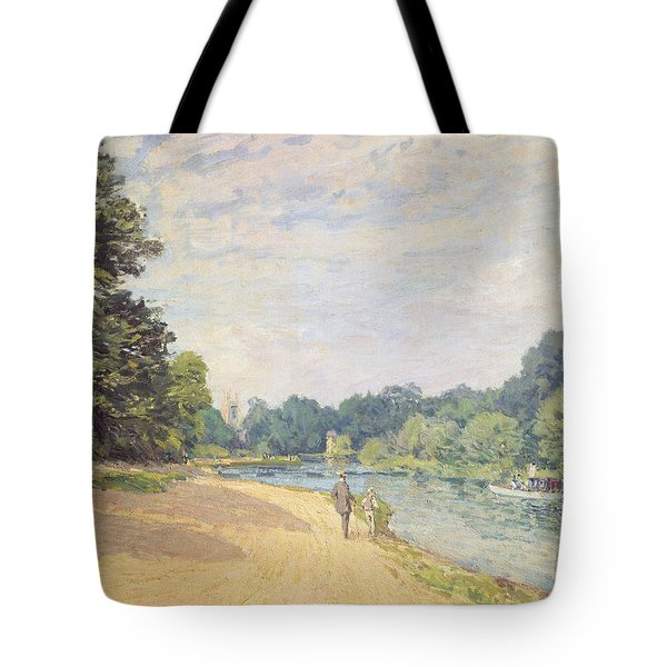 The Thames With Hampton Church Tote Bag by Alfred Sisley