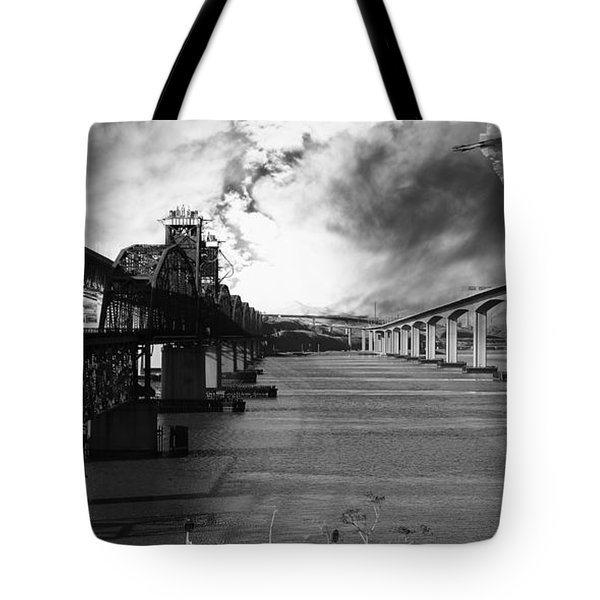 The Three Benicia-Martinez Bridges . A Journey Through Time . Black and White Tote Bag by Wingsdomain Art and Photography
