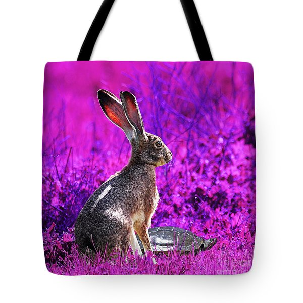 The Tortoise and the Hare . Magenta Square Tote Bag by Wingsdomain Art and Photography