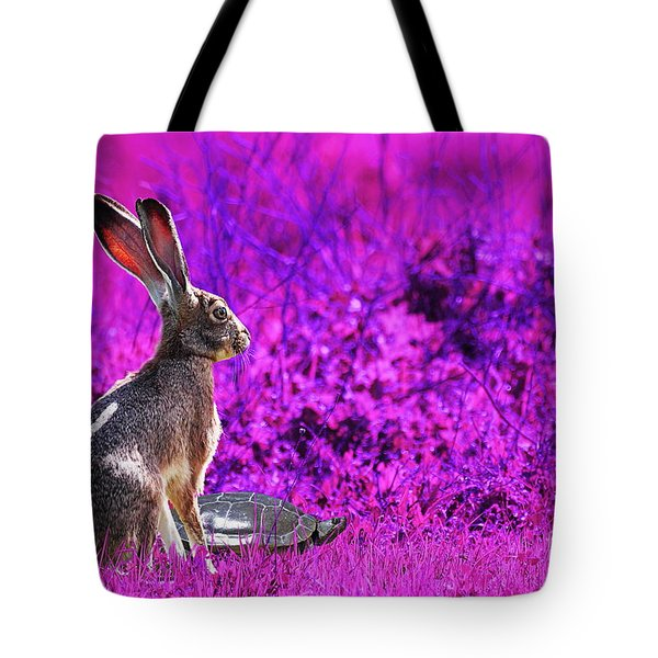 The Tortoise and the Hare . Magenta Tote Bag by Wingsdomain Art and Photography