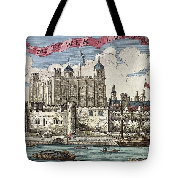 The Tower Of London Seen From The River Thames Tote Bag by English School