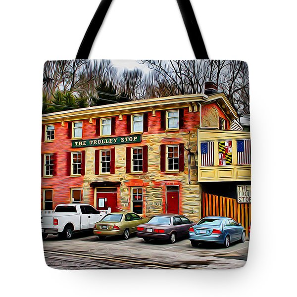 The Trolley Stop Tote Bag by Stephen Younts