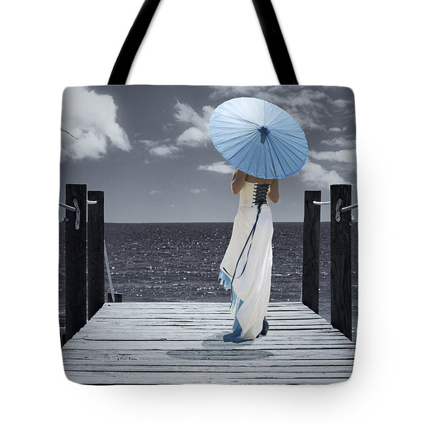 The Turquoise Parasol Tote Bag by Amanda And Christopher Elwell