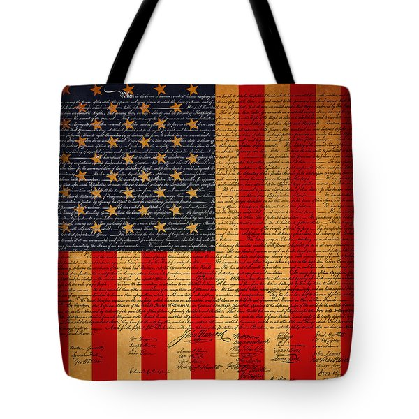 The United States Declaration of Independence And The American Flag 20130215 Tote Bag by Wingsdomain Art and Photography