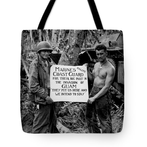 The U.s. Marines Salute The U.s. Coast Tote Bag by Stocktrek Images