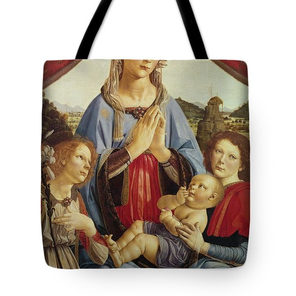 The Virgin And Child With Two Angels Tote Bag by Andrea del Verrocchio