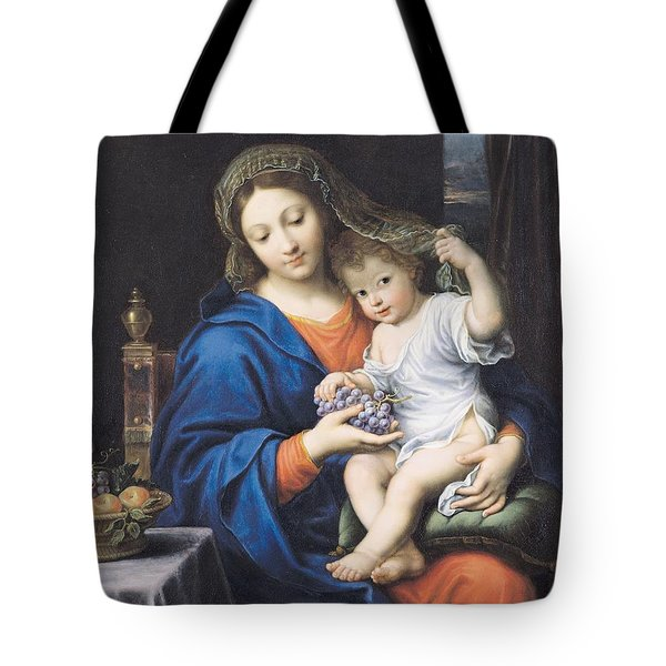 The Virgin Of The Grapes Tote Bag by Pierre Mignard