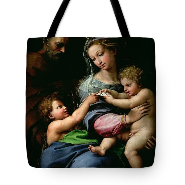 The Virgin Of The Rose Tote Bag by Raphael