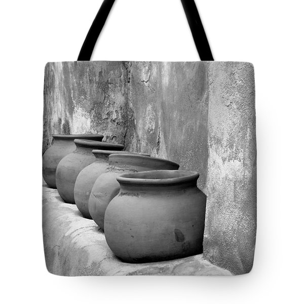 The Wall Of Pots Tote Bag by Sandra Bronstein