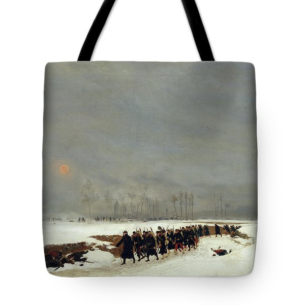 The War Of 1870 An Infantry Column On Their Way To A Raid Tote Bag by Jean-Baptiste Edouard Detaille
