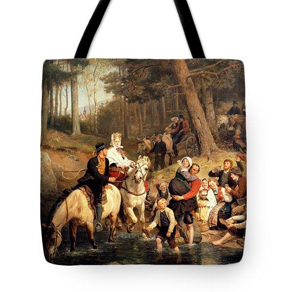 The Wedding Trek Tote Bag by Adolphe Tidemand