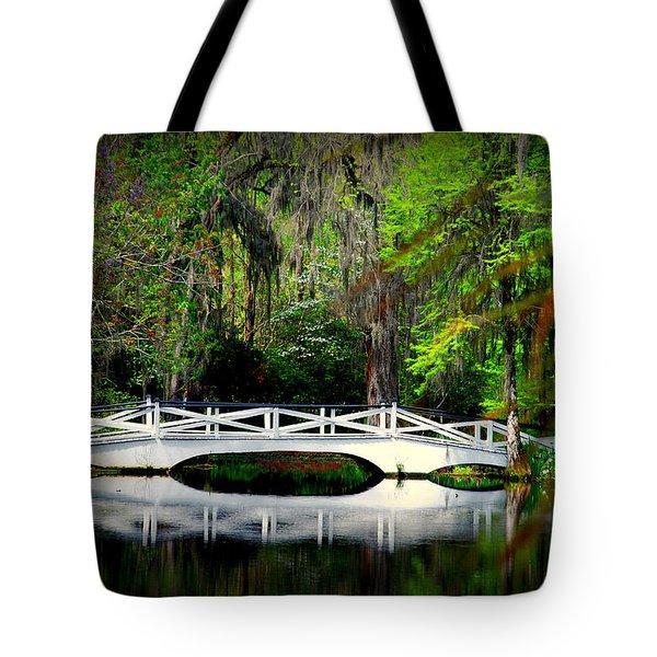 The white bridge in Magnolia Gardens SC Tote Bag by Susanne Van Hulst