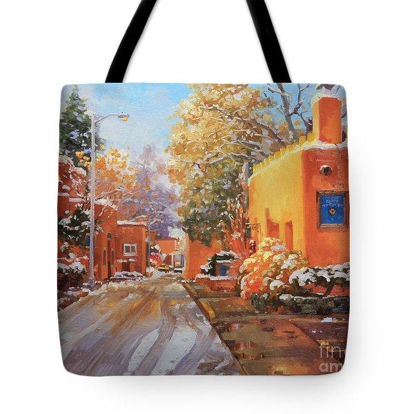 The Winter Beauty Of Santa Fe Tote Bag by Gary Kim