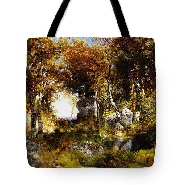 The Woodland Pool Tote Bag by Thomas Moran