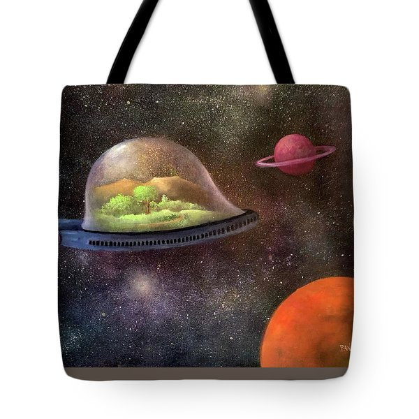 They Took Their World With Them Tote Bag by Randy Burns aka Wiles Henly