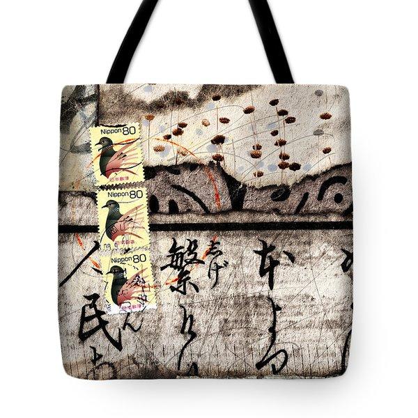Three Bird Night Collage Tote Bag by Carol Leigh