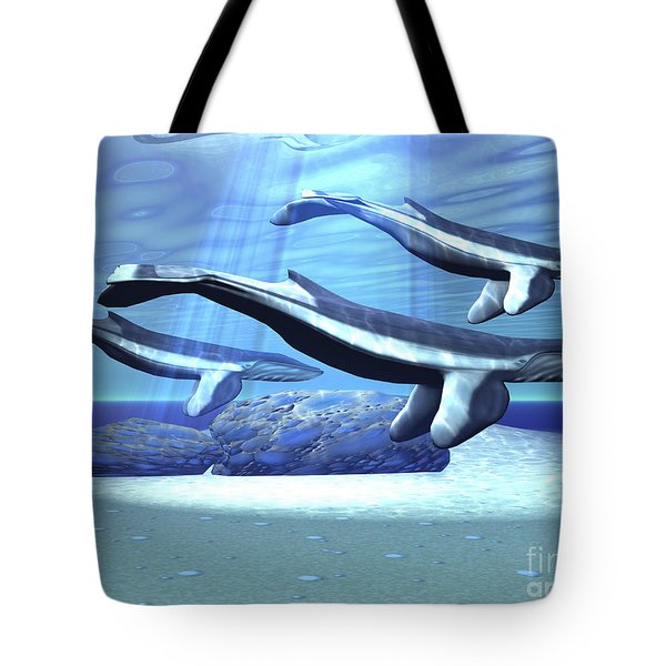 Three Blue Whales Move Tote Bag by Corey Ford