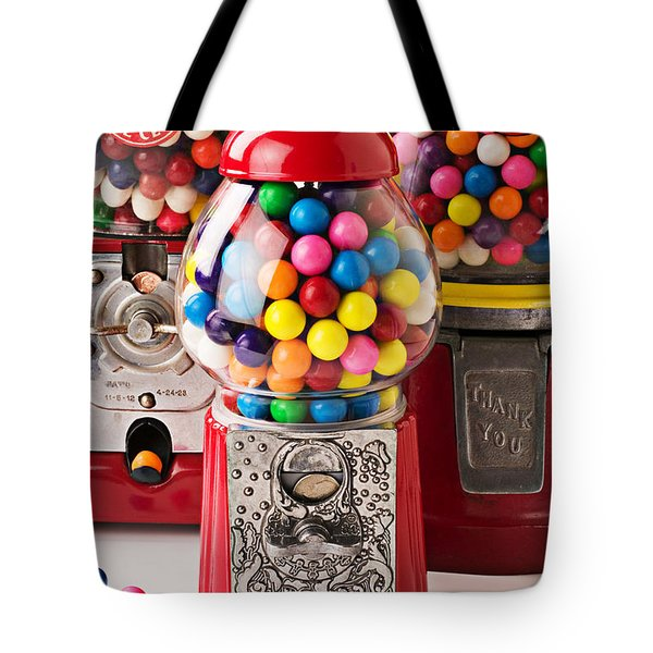 Three bubble gum machines Tote Bag by Garry Gay